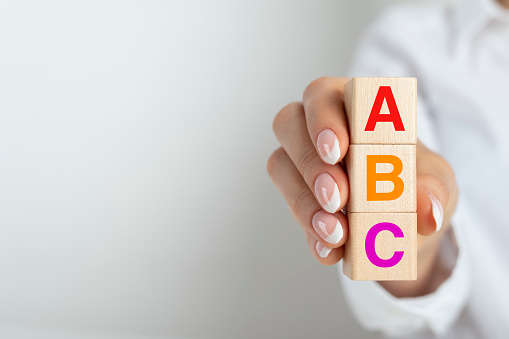 ABC letters alphabet on wooden
