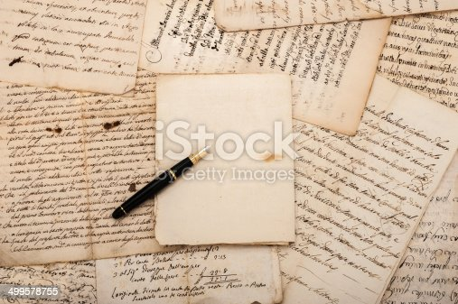 istock Letters and fountain pen 499578755