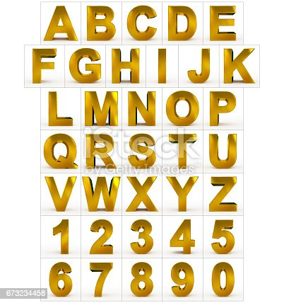 istock letters and numbers 3d golden isolated on white 673234458