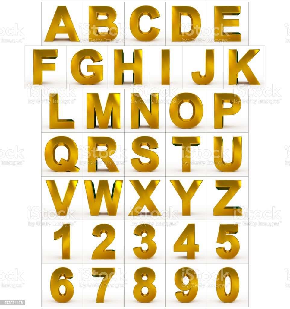 letters and numbers 3d golden isolated on white stock photo