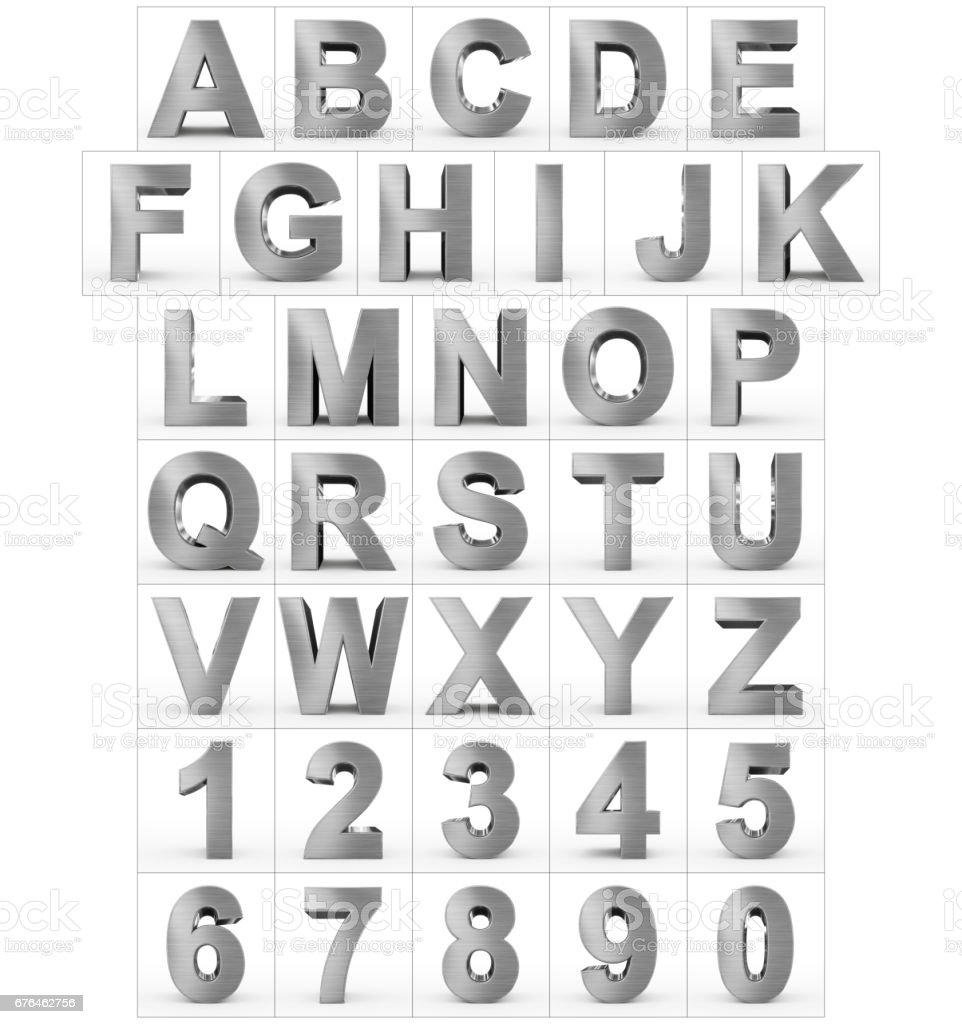 letters and numbers 3d metal isolated on white stock photo