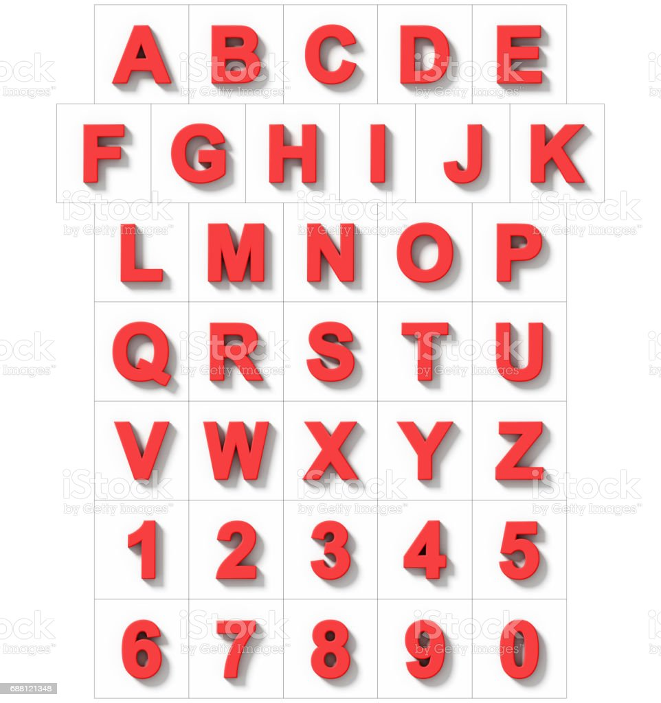 letters and numbers 3D red isolated on white with shadow - orthogonal projection stock photo