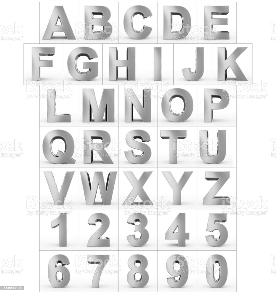 letters and numbers 3d silver isolated on white stock photo