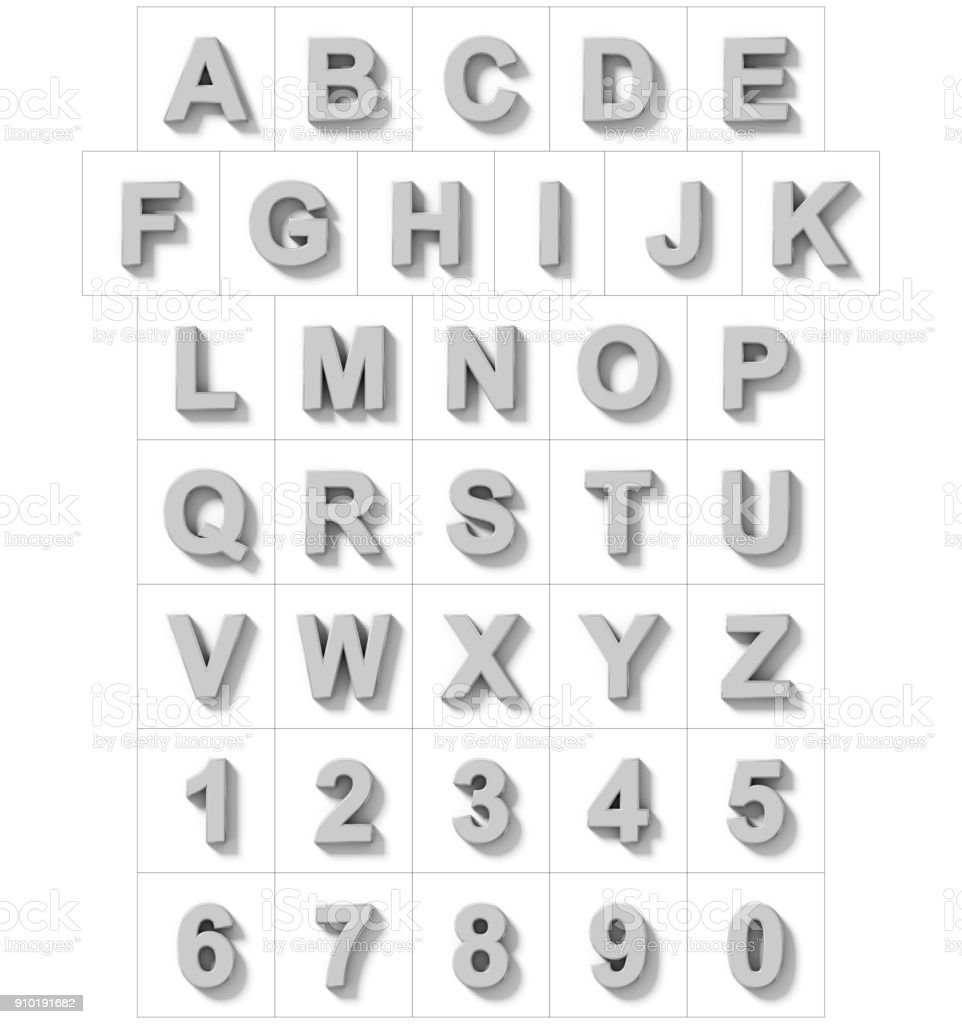letters and numbers 3D silver isolated on white with shadow - orthogonal projection stock photo