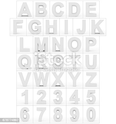 istock letters and numbers 3d white isolated on white 678774862