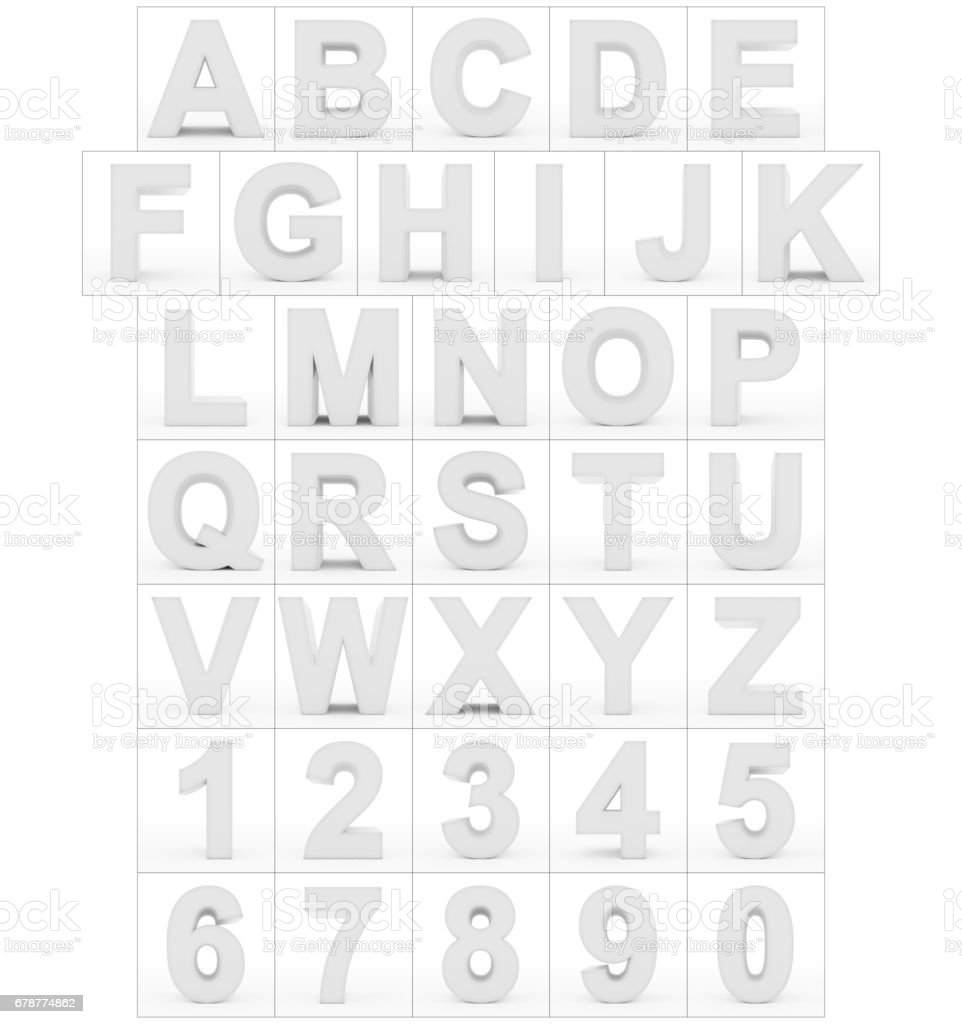 letters and numbers 3d white isolated on white stock photo