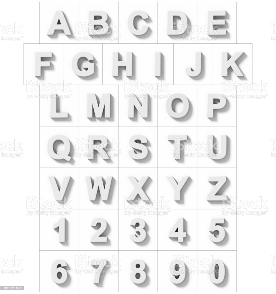letters and numbers 3D white isolated on white with shadow - orthogonal projection stock photo