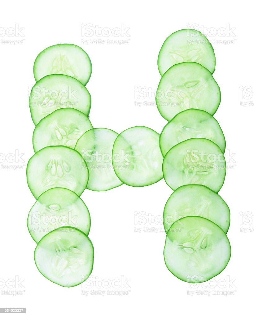Letters and numbers alphabet of  cucumbers stock photo