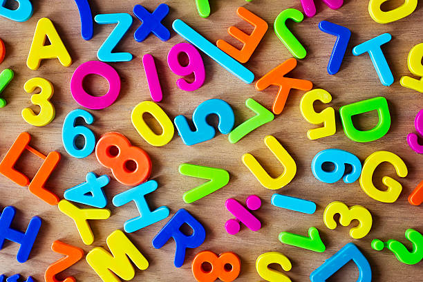 Letters and numbers in colors stock photo