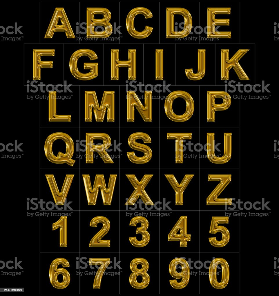 letters and numbers rounded shiny golden isolated on black stock photo