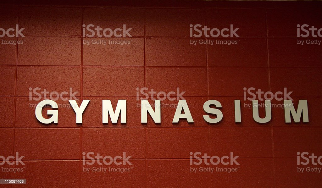 letters and signs - gymnasium royalty-free stock photo