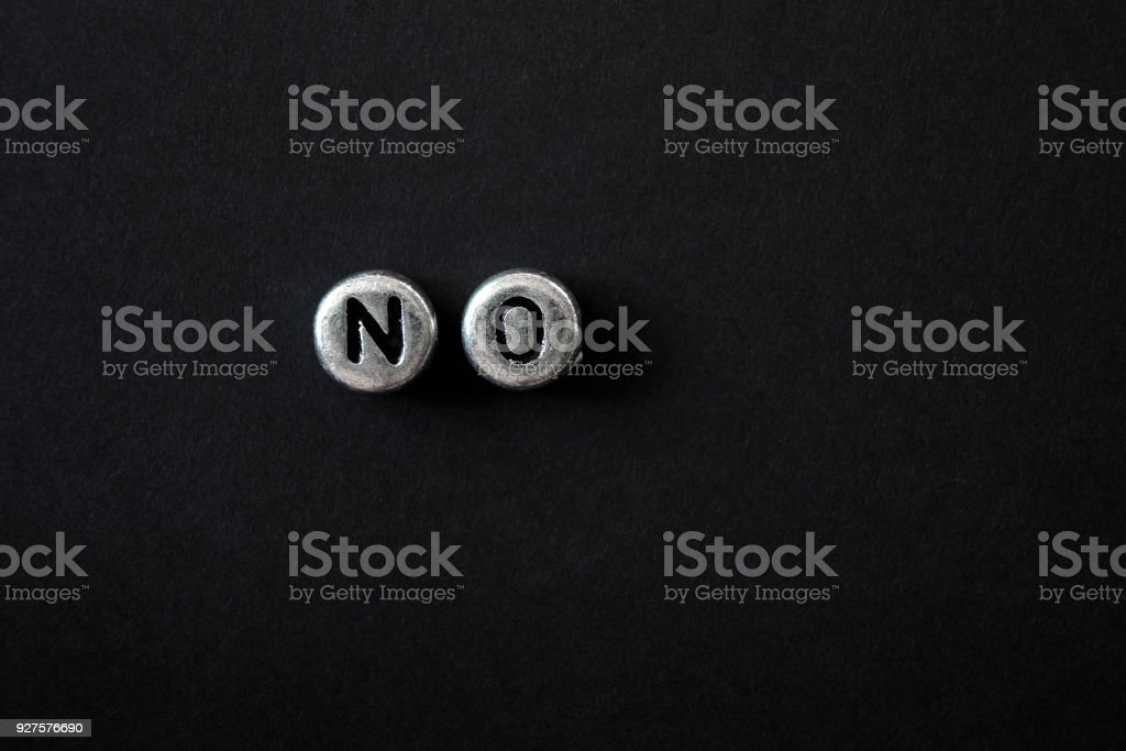 letters are laid out no, against a dark background stock photo