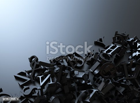 istock Letters background on black 928028874