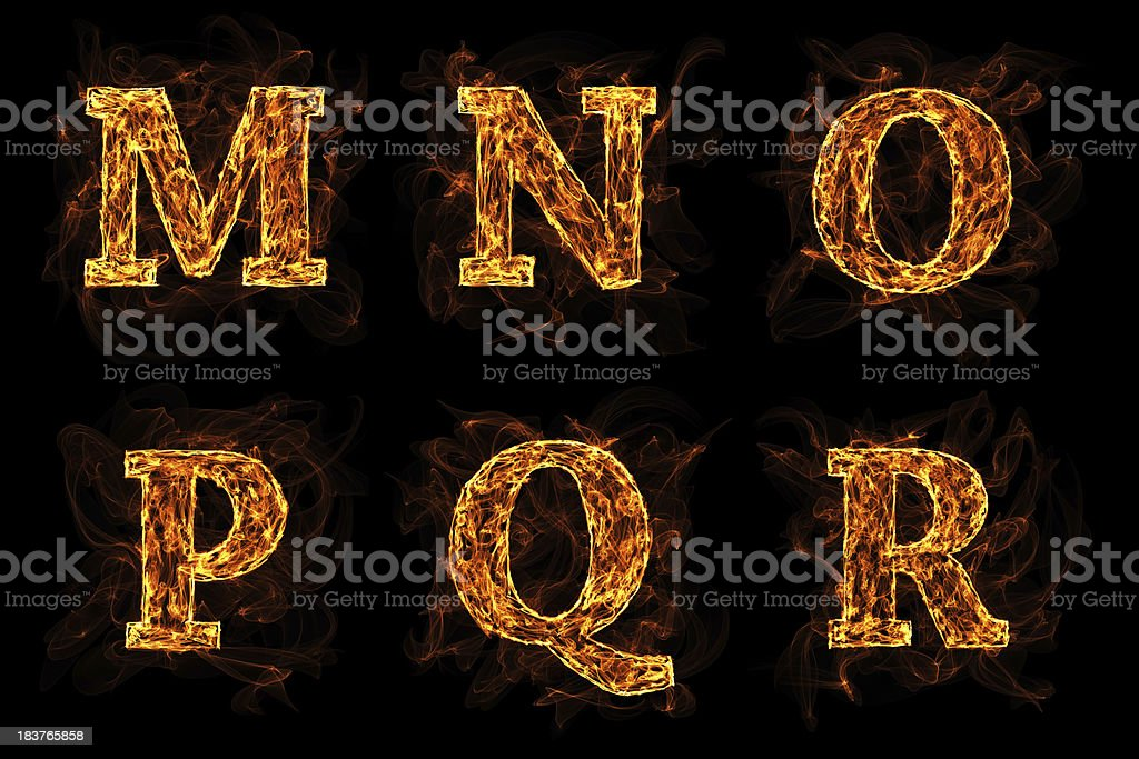 Letters Burning In The Fire royalty-free stock photo