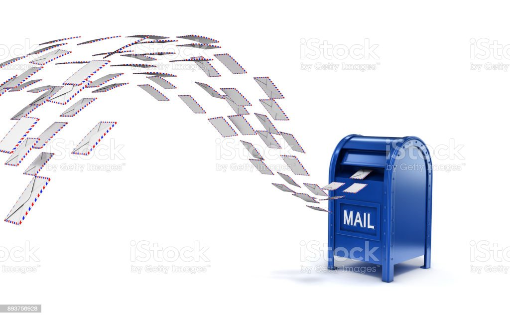 Letters flying into mail box 3d isolated illustration stock photo