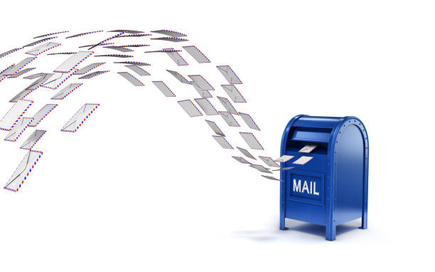 Letters flying into mail box 3d isolated illustration Letters flying into mail box 3d isolated illustration letterbox format stock pictures, royalty-free photos & images