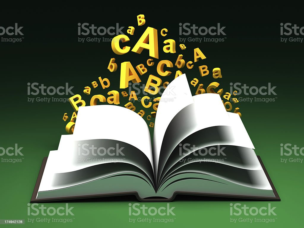 Letters flying out of open book royalty-free stock photo