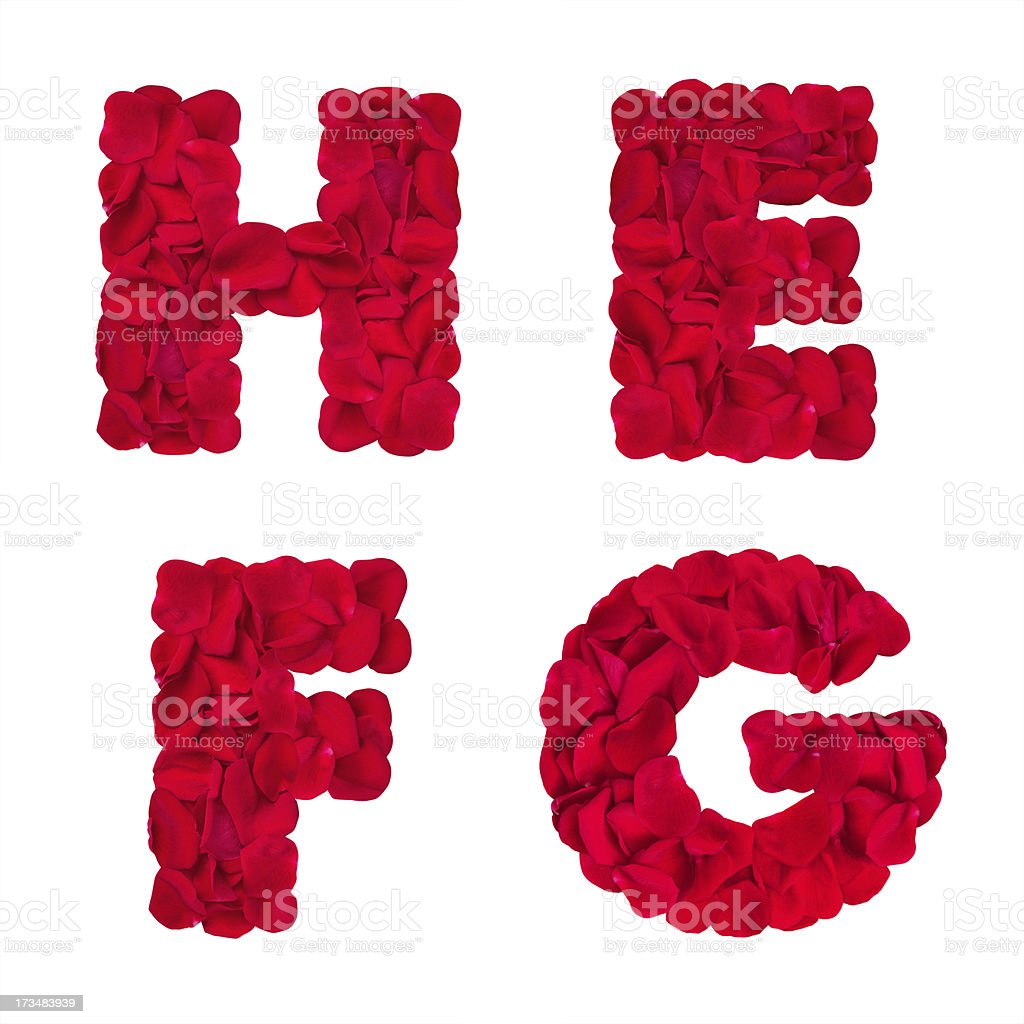 Letters 'H' 'E' 'F' 'G' made of rose petals royalty-free stock photo
