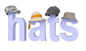 letters hats with dressed headdress. 3d rendering