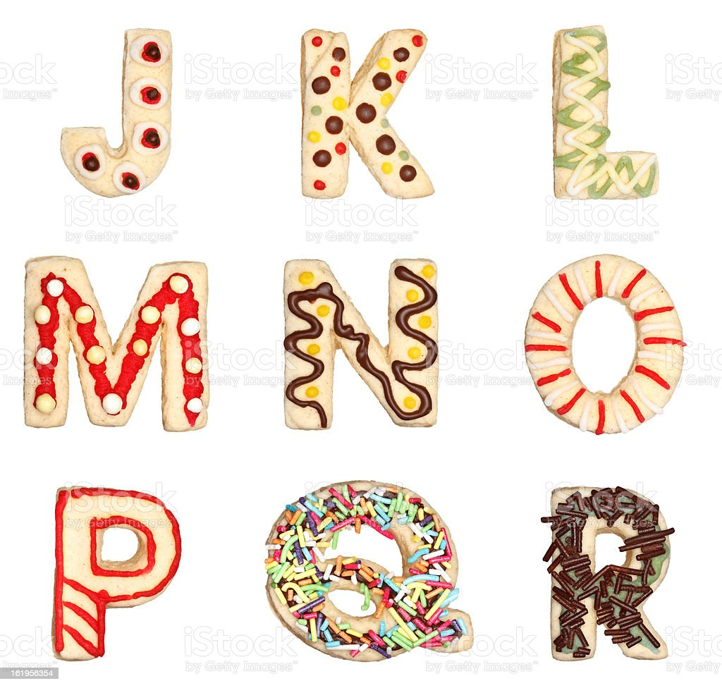 Letters J to R from decorated cookies stock photo