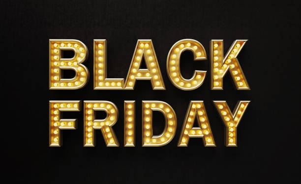 Letters Made of Light Bulbs Forming Black Friday Text on Black Background Letters made of gold and light bulbs forming Black Friday text on black background. Horizontal composition with copy space. Black Friday concept. black friday sale background stock pictures, royalty-free photos & images