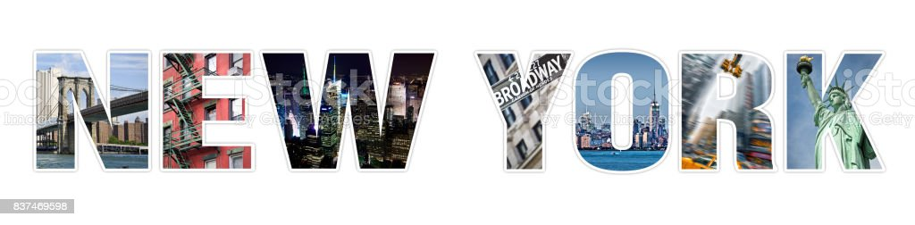 Letters NEW YORK photo collage isolated on white background stock photo
