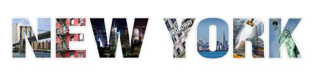 Colagem de fotos de Nova YORK letras isolada no fundo branco - foto de acervo