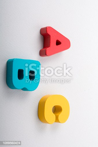 istock Letters of abc of alphabet on white color 1059560424