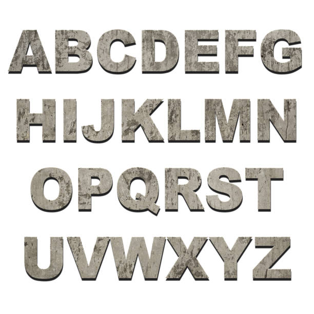 letters of alphabet on grunge texture - stone font stock photos and pictures