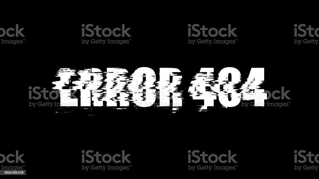 Letters of Error 404 text with noise on black, 3d rendering background, computer generating for gaming stock photo