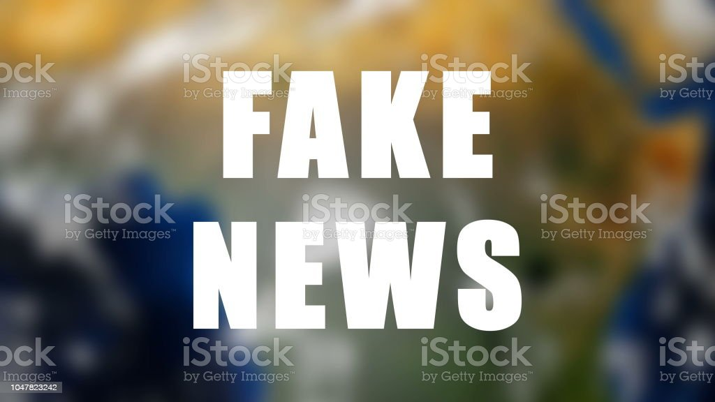 Letters of Fake news text on background with rotating earth, 3d render background, computer generating for news stock photo