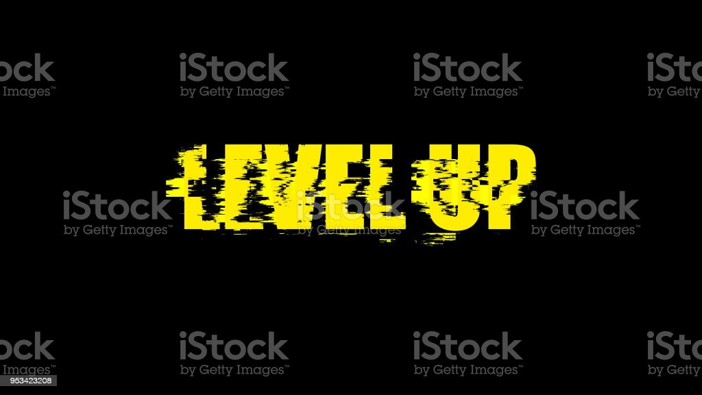 Letters of Level up text with noise on black, 3d render background, computer generating for gaming stock photo