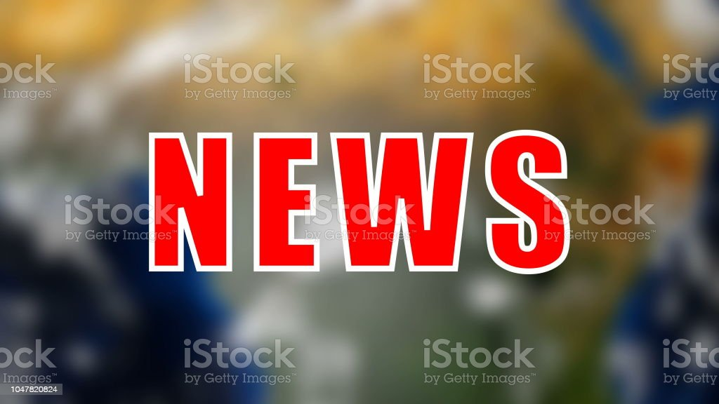 Letters of News text on background with rotating earth, 3d render background, computer generating for news stock photo