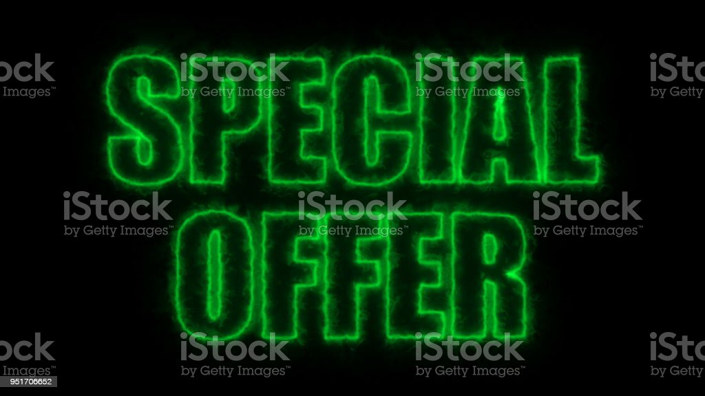 Letters of Special price text on black, 3d rendering background, computer generating for trading stock photo