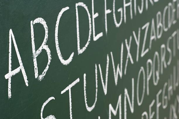 ABC Buchstaben auf einer Tafel – Foto