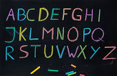 ABC letters on blackboard with colored chalk - Alphabet Tafel