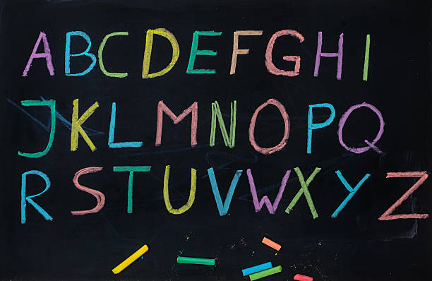 ABC letters on blackboard with colored chalk - Alphabet Tafel stock photo