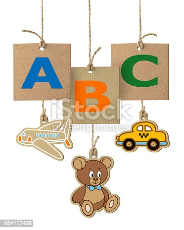 istock ABC letters on cardboard label 654123498