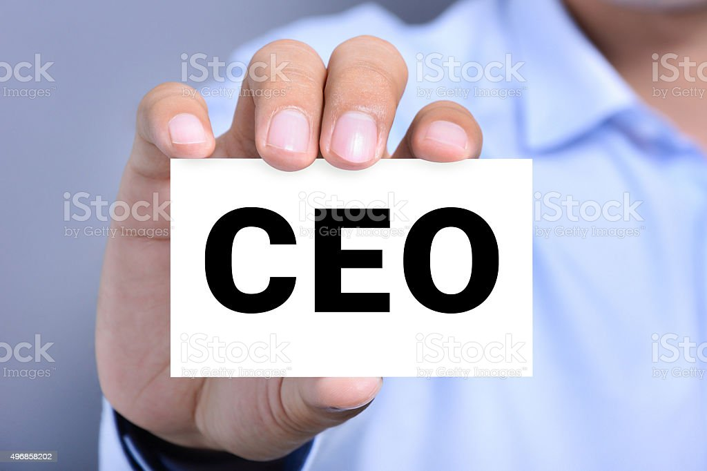 CEO letters (or Chief Executive Officer) on the card stock photo