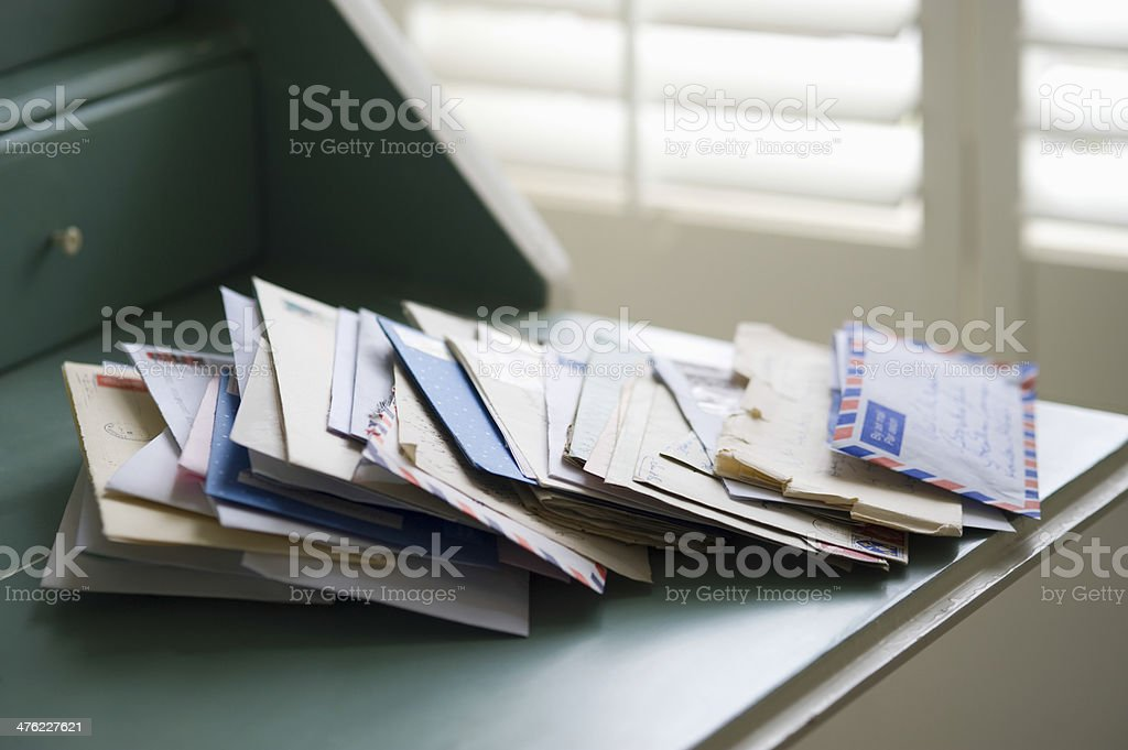 Letters On Writing Desk stock photo