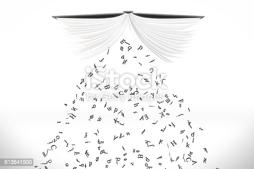 istock Letters pour out from the opened book at white background 513541500