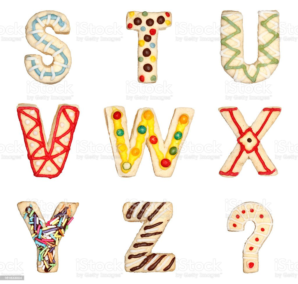 Letters S to Z from decorated cookies royalty-free stock photo