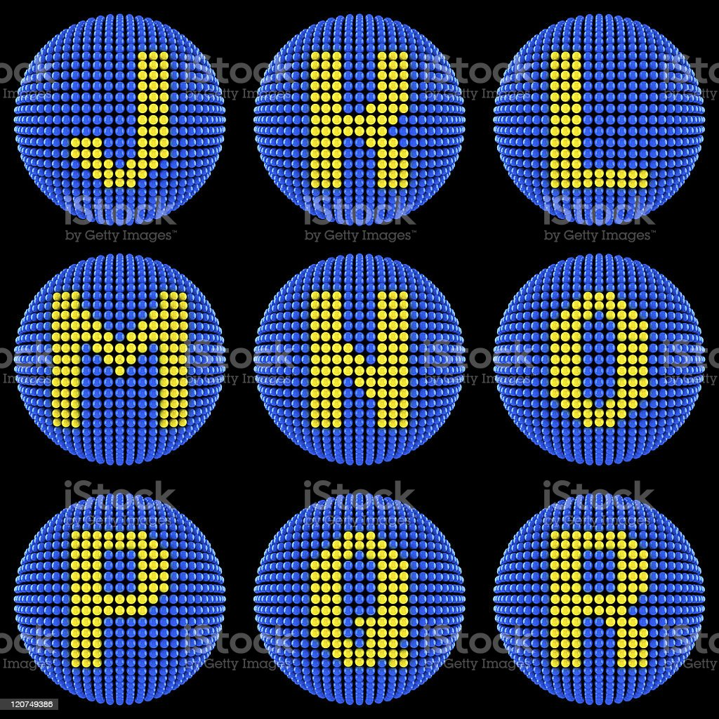 Letters set created from atoms royalty-free stock photo