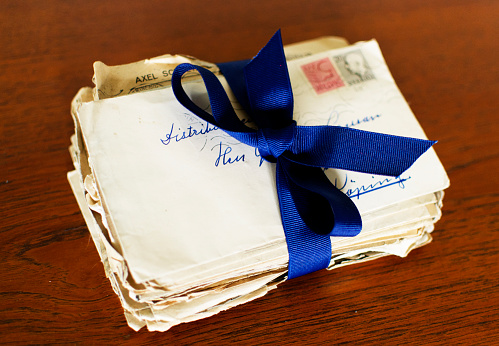 Letters Tied Together With Ribbon Stock Photo - Download Image Now