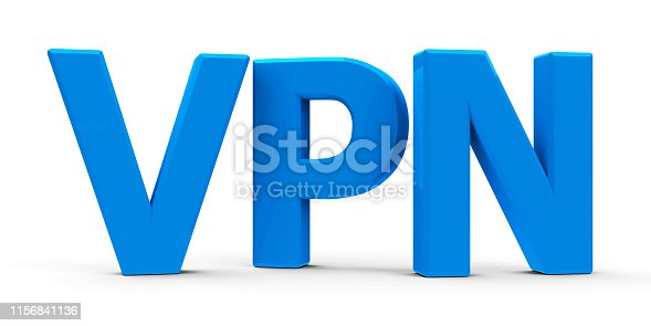 Blue VPN symbol, icon or button isolated on white background - represents Virtual Private Network, three-dimensional rendering, 3D illustration
