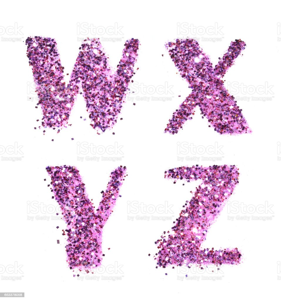 Letters W, X, Y, Z of purple glitter sparkle on white stock photo