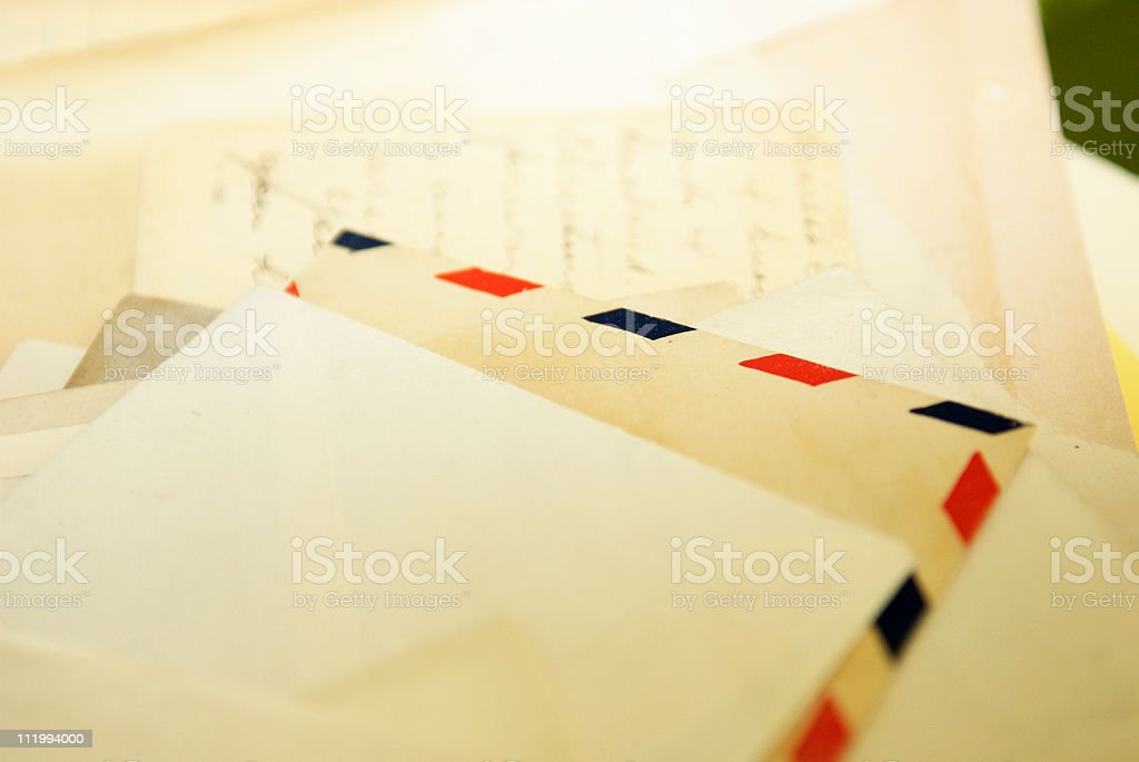 Letters with Air Mail Envelope stock photo