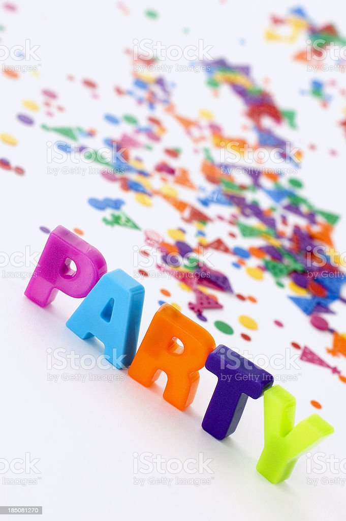 PARTY Letters with Confetti royalty-free stock photo