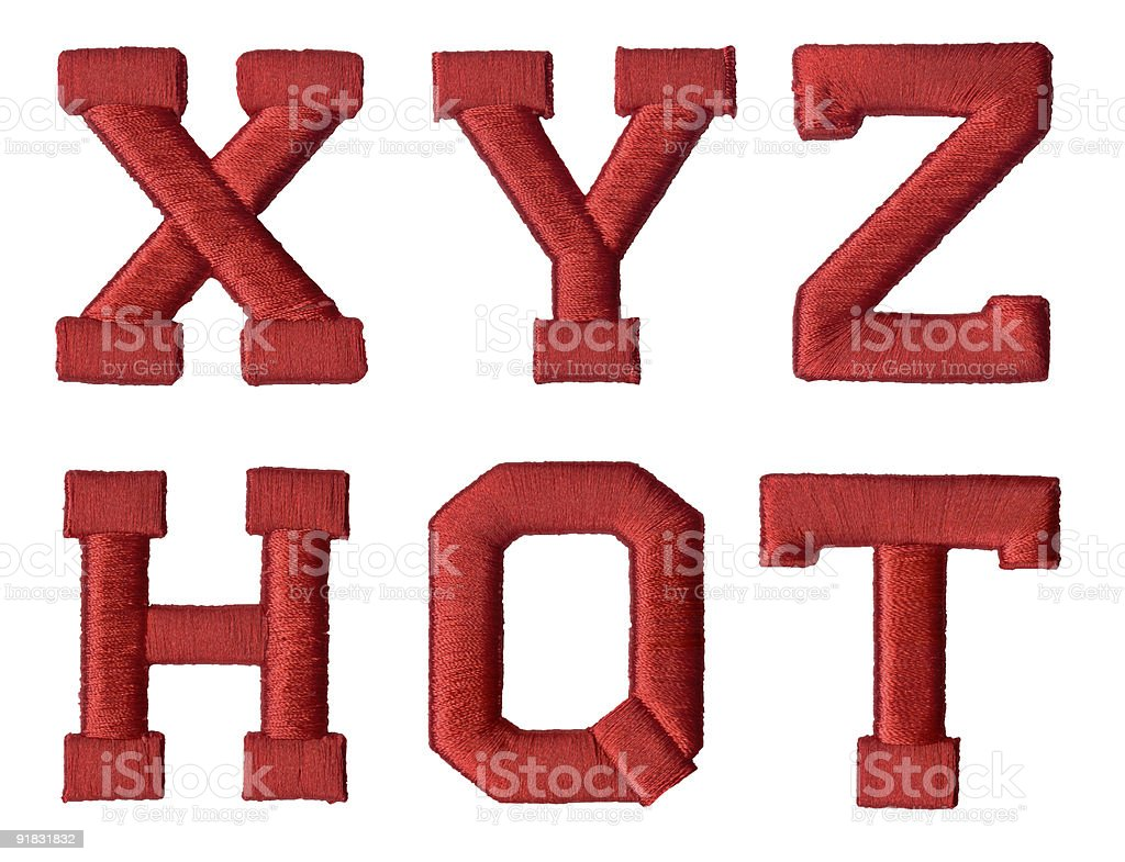 Letters X Y Z and H O T isolated background royalty-free stock photo