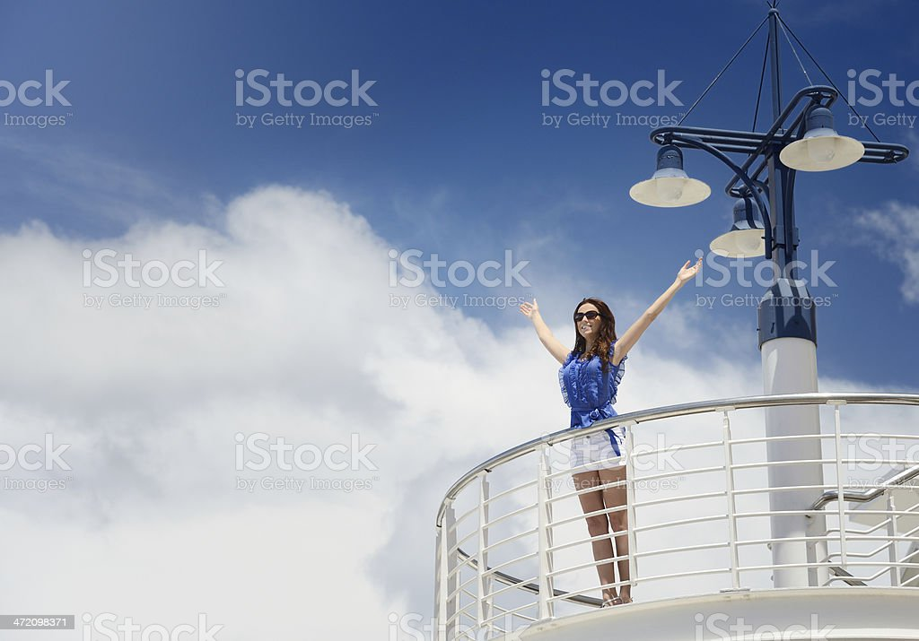 Letting Go, Woman on a Cruise Ship stock photo